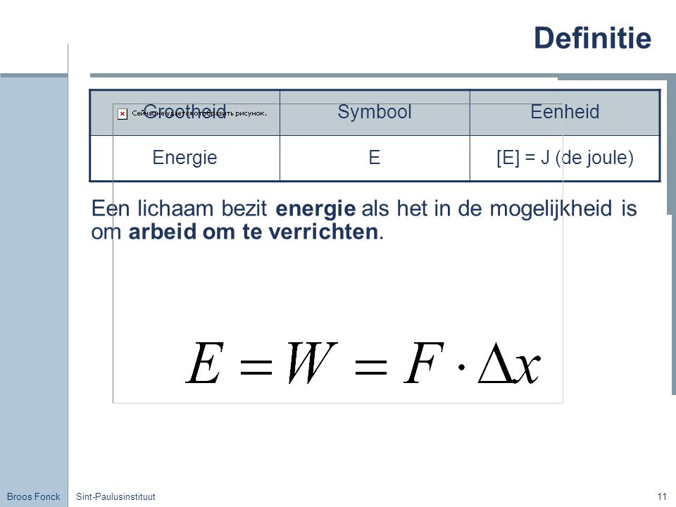 Definitie Grootheid. Symbool. Eenheid. Energie. E. [E] = J (de joule)
